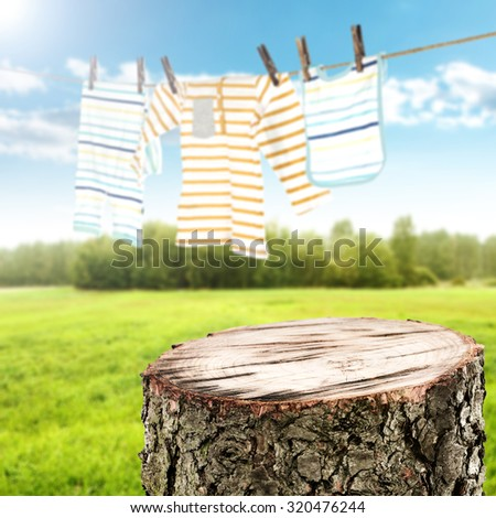 top of cut tree and landscape with grass and sky with baby clothes on rope  - stock photo