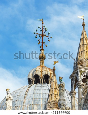 Top of Doges Palace on the Piazza San Marco - Venice, Italy - stock photo