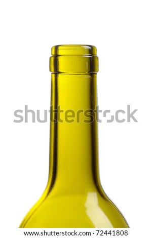 top of empty green wine bottle isolated over white - stock photo