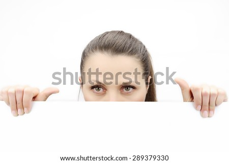 Top of female face behind white banner, isolated on white