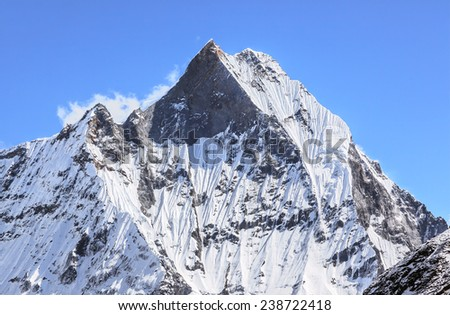Top of Machhapuchhre peak (6998 m). View from Annapurna Base Camp - Nepal, Himalayas