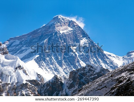 Top of Mount Everest from Gokyo valley - way to Everest base camp - Nepal - stock photo
