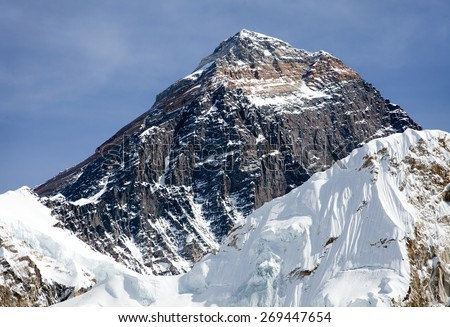 Top of Mount Everest from Kala Patthat, way to Everest base camp, Sagarmatha national park, Khumbu valley, Nepal
