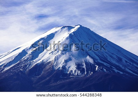 Top of Mountain Fuji in Japan with blue sky