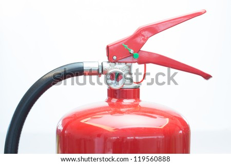 Top of red fire extinguisher - stock photo