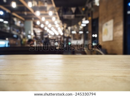 Top of table with Bar Cafe Restaurant blurred background  - stock photo