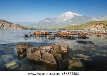 Top of Tahtali mountain. View from the sea bay in the ancient city of Phaselis. Tourist attraction of Turkey. Location near the village of Tekirova in the Kemer area