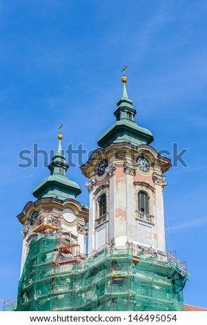 Top of the cathedral of Eger - stock photo