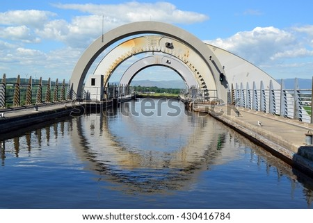 top of the Falkirk Wheel boat lift in Scotland - stock photo