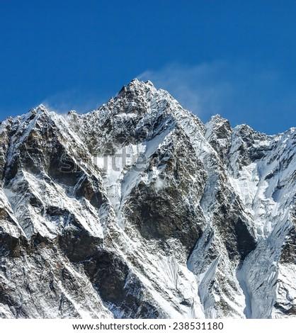 Top of the Lhotse peak (8516 m) - Everest region, Nepal, Himalayas - stock photo