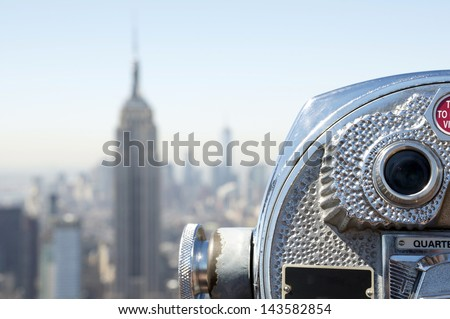 Top of the Rocks, the Rockefeller Center observation deck, one of the main tourist attractions in New York City. New York, USA. - stock photo