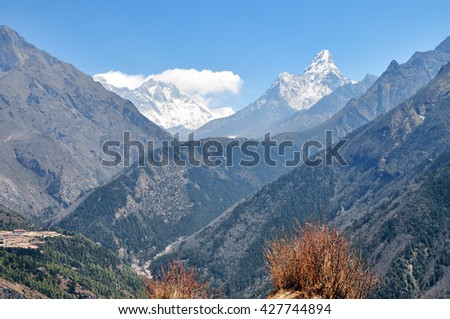 Top of the world - Mount Everest, Lhotse Nuptse and Ama Dablam summits. Himalayas mountain panorama - Sagarmatha National Park, Nepal. - stock photo