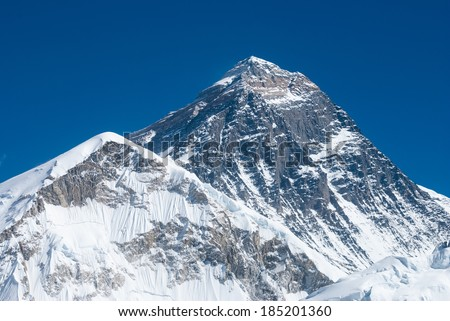 Top of the world, Mt. Everest as seen from the Kala Patthar summit - stock photo