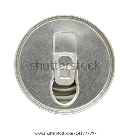 Top of tin can with ring opened on white background.