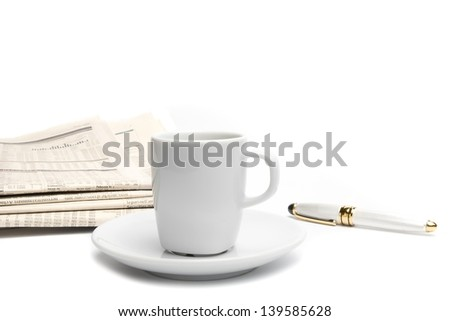 top of view of coffee near financial newspaper and pen - stock photo