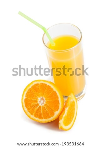 top of view of full glass of orange juice with straw near half orange on white background