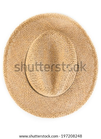 Top of view of vintage summer straw hat isolated on white background - stock photo