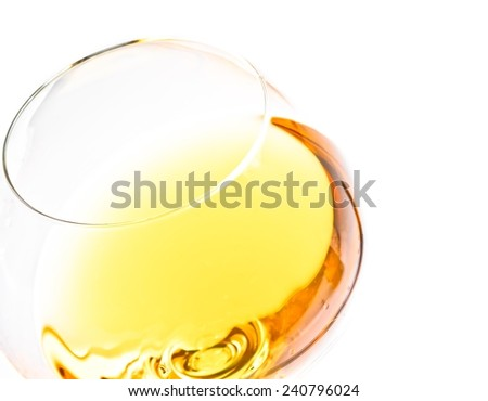 top of view of white wine glass isolated with space for text on white background - stock photo