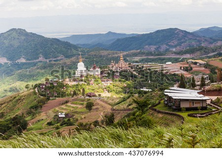 Top of View Thai Temple in Valley at North of Thailand