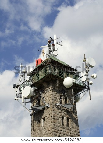 top of view-tower with transmitter units - stock photo
