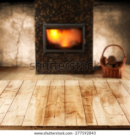 top of wood and fireplace in home