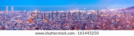 Top panoramic view of Barcelona in evening. Catalonia, Spain - stock photo