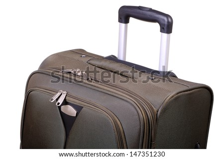 Top part of a road suitcase isolated on white - stock photo