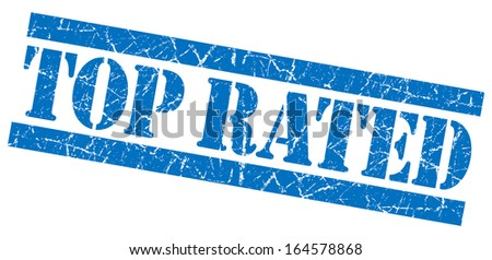 Top rated blue grunge stamp - stock photo