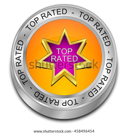 Top Rated Button - 3D illustration - stock photo