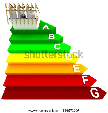 top rated energy concept of new building on stairs render illustration - stock photo