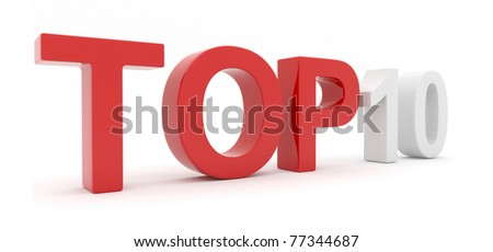 Top 10. Rating. 3D text isolated, illustration - stock photo
