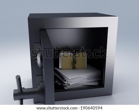 top secret archive in steel safe box, 3d illustration.  - stock photo