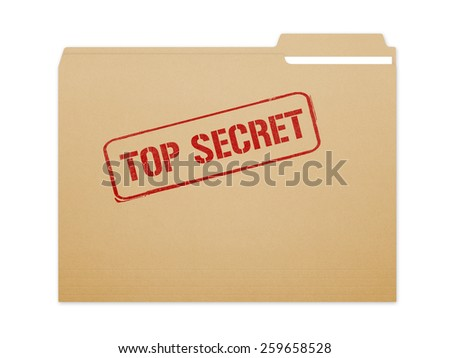 Top secret brown folder file with paper showing with a lot of copy space. Isolated on a white background with clipping path. - stock photo