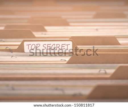 Top secret files with the focus on the folder labeled.
