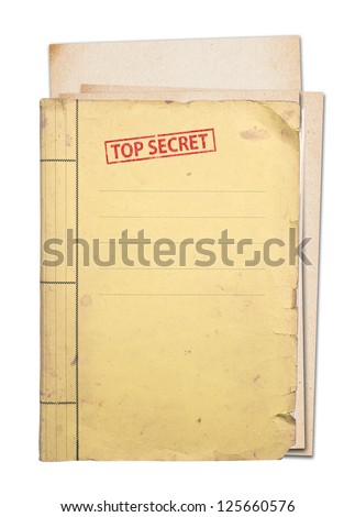 top secret folder isolated, clipping path.