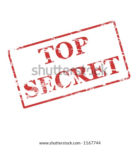 Top secret in red on white background