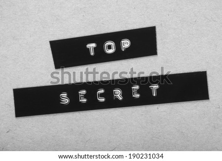 Top Secret Label in black and white for a vintage cold war era espionage design - stock photo