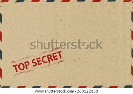Top secret on  Airmail Envelope - stock photo