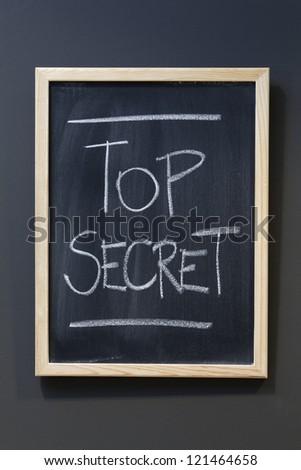 Top secret written on a blackboard - stock photo