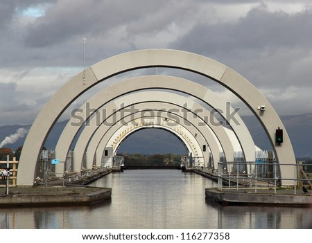 Top section of the Falkirk Wheel - stock photo