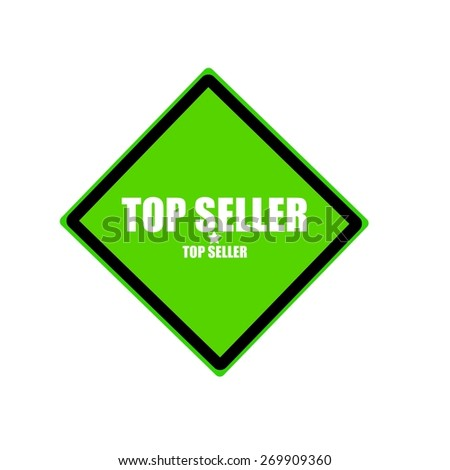 Top seller white stamp text on green background - stock photo