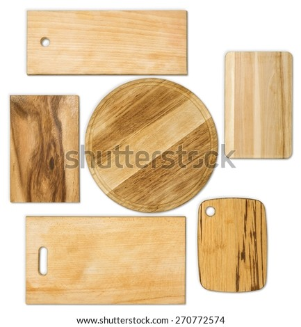 Top. Set of chopping different  old  boards isolated on white - stock photo