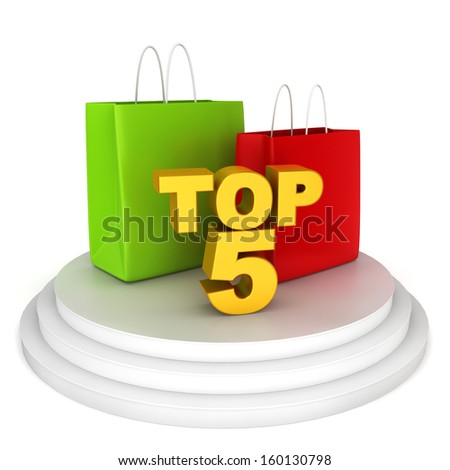 Top shopping brands. 3d illustration on white background  - stock photo