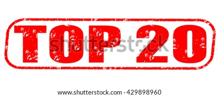 top 20 stamp on white background. - stock photo