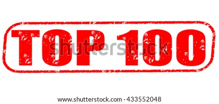 top 100 stamp on white background. - stock photo