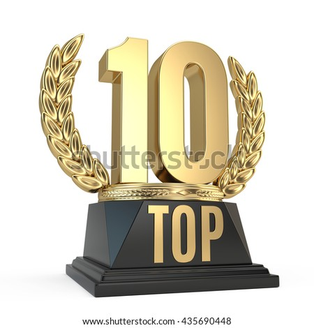 Top 10 ten award cup symbol isolated on white background. 3d render - stock photo