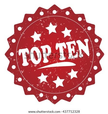 top ten grunge stamp on white background. - stock photo