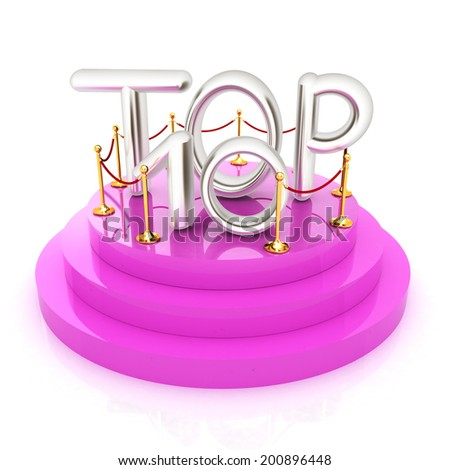 Top ten icon on white background. 3d rendered image  - stock photo