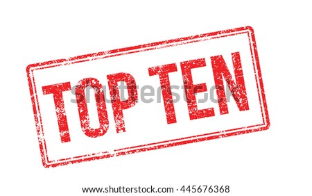 Top Ten red rubber stamp on white. Print, impress, overprint. - stock photo