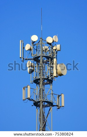 Top the tower of a transmitter station - stock photo